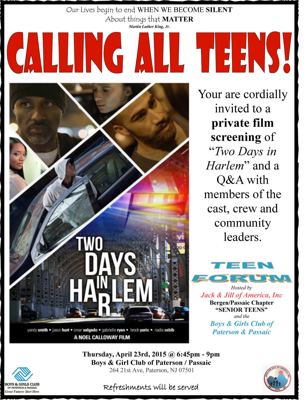 JnJ Teen Forum flyer (For Teens)